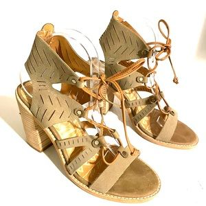 Dolce Vita Lyndon Tan Leather Lace Up Sandals 8.5